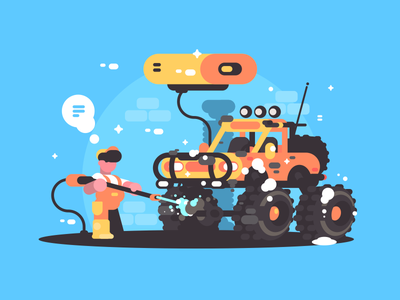 Car Wash illustration vector flat kit8 character suv water clean wash service car