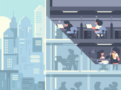 Office character employees skyscraper workplace job office illustration vector flat kit8