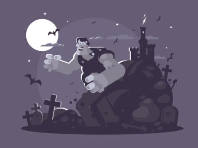 Frankenstein character night monster halloween frankenstein illustration vector flat kit8
