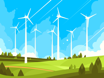 Windmills ecology field turbine wind environment energy electricity windmill illustration vector flat kit8