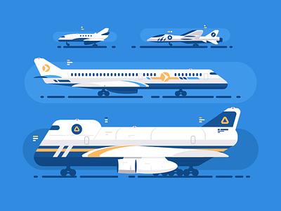 Aircraft Types passenger military aeroplane cargo plane transport aircraft illustration vector flat kit8