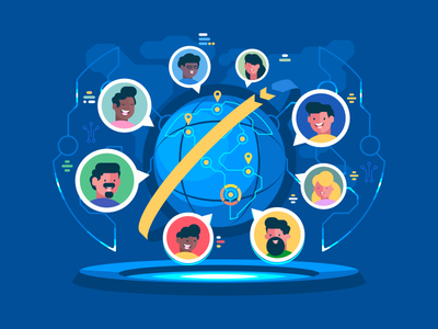 Global Communication character people earth communication network internet worldwide global illustration vector flat kit8