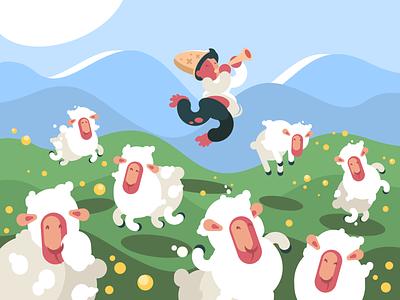 Shepherd character meadow flock animal sheep shepherd herd illustration vector flat kit8