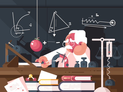 Physicist character teacher physics research scientist laboratory experiment illustration vector flat kit8