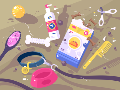 Everything For Pet hairbrush domestic collar leash accessory pet care bone illustration vector flat kit8