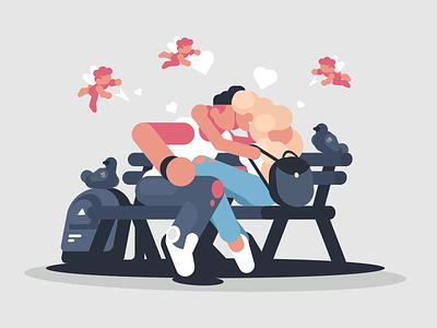 Kiss On The Park character park valentine couple bench kiss girlfriend boyfriend illustration vector flat kit8