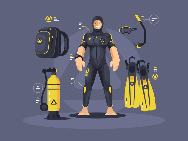 Diver's equipment aqualung character scuba snorkel underwater wetsuit equipment diver illustration vector flat kit8