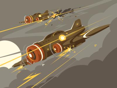 Military aircraft combat flight sky attack aviation aircraft military airplane illustration vector flat kit8