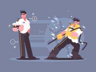 Liner Captain character commander liner cruise nautical seaman uniform captain illustration vector flat kit8