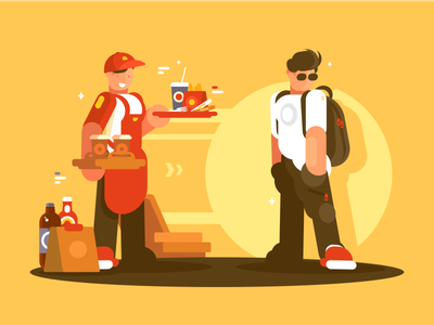 Equipment Fastfood character customer service snack cafe uniform fastfood seller illustration vector flat kit8