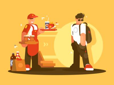 Equipment Fastfood character customer service snack cafe uniform fastfood seller illustration vector flat kit8
