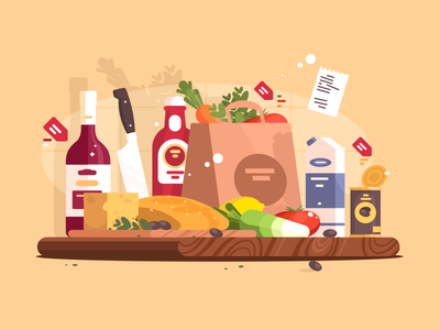 Food ingredient milk sauce olive wine package cooking food illustration vector flat kit8