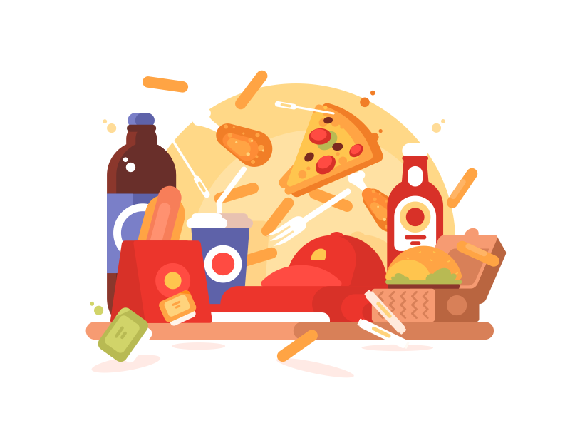 Equipment Fastfood soda french fries pizza dog hot food fast illustration vector flat kit8