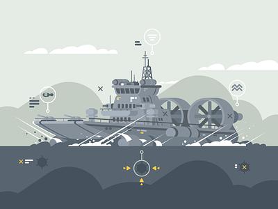 Hovercraft weapon ocean ship armed hovercraft military illustration vector flat kit8