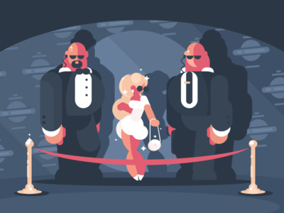 Ladies And Bodyguards character security famous blonde woman bodyguard star illustration vector flat kit8