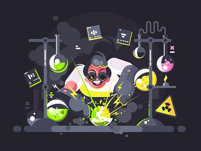 Chemist character flask tube test laboratory scientist experiment chemist illustration vector flat kit8
