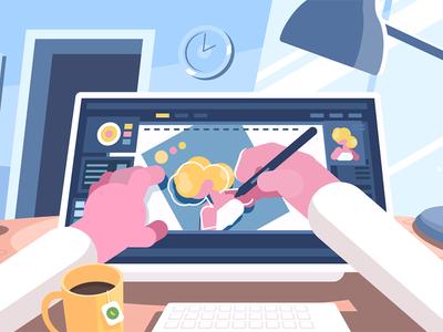 Illustrator character designer tablet illustrator office drawing workplace computer illustration vector flat kit8