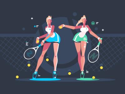 Tennis Players Girl character sport girl ball court racket tennis illustration vector flat kit8