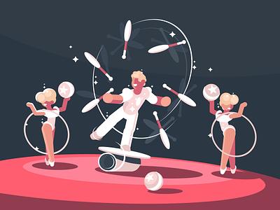 Juggler character artist performance show arena juggler circus illustration vector flat kit8