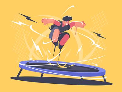 Trampoline character acrobat jump athlete sport trampoline illustration vector flat kit8