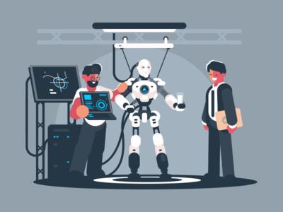 Presentation Robot character cyborg engineer technology presentation robot illustration vector flat kit8