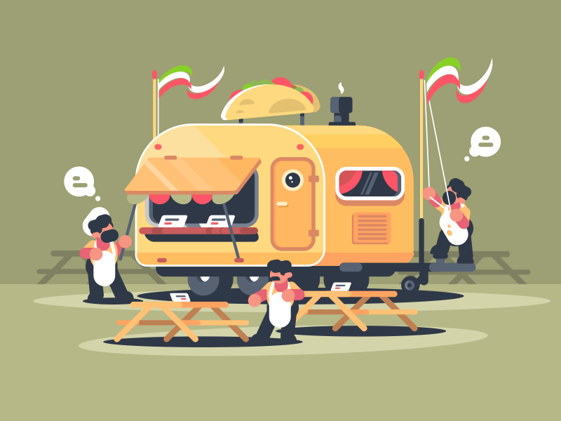 Caravan With Nachos character cafe fast food van nachos snack mexican illustration vector flat kit8