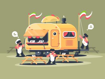 Caravan With Nachos character cafe fast food van nachos snack mexican illustration vector flat kit8