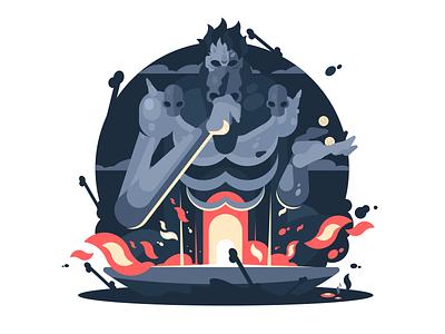 Hades God Death myth god mythology greek hades flame fire illustration vector flat kit8