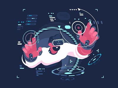 Virtual Reality Designing character creates eyewear cyberspace interface digital designer virtual illustration vector flat kit8