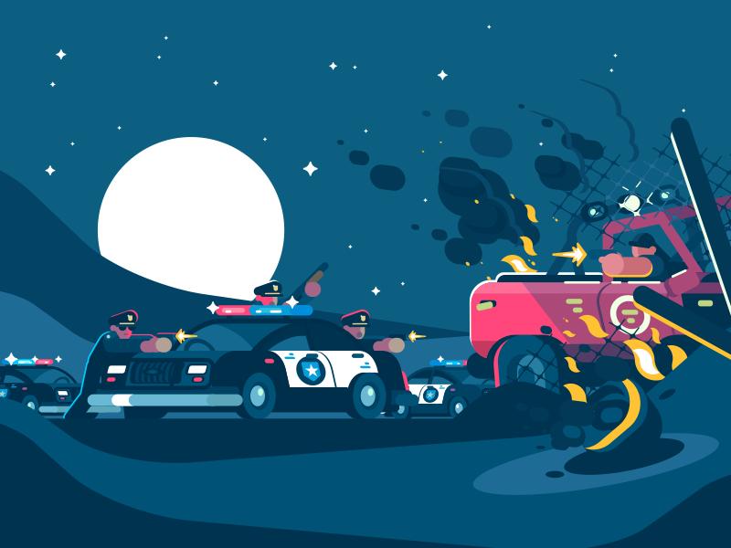 Police Detention character gun shooting cop criminal patrol arrest police illustration vector flat kit8