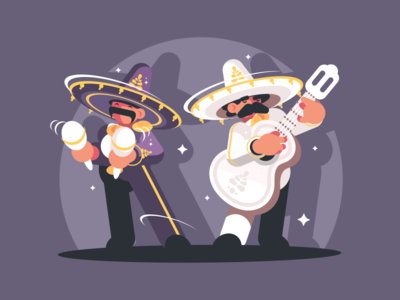 Mexican Musicians character maracas hat guitar sombrero musician mexico illustration vector flat kit8