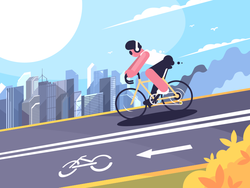 Bike Lane character cyclist bicycle sport track road bike illustration vector flat kit8