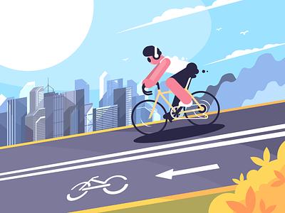 Bike Lane character cyclist bicycle sport track road bike illustration vector flat kit8