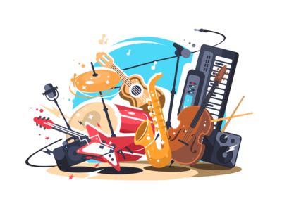 Musical Instruments synthesizer saxophone acoustic electric microphone guitar musical instrument illustration vector flat kit8