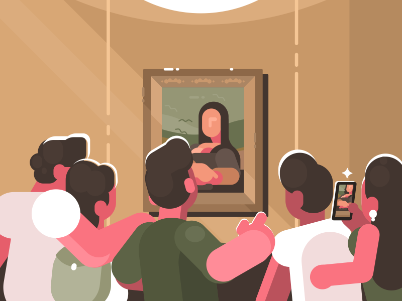Mona Lisa character visitor museum leonardo art lisa mona picture illustration vector flat kit8