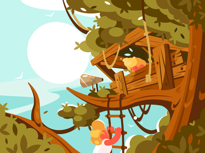 House On Tree character children ladder summer wooden wood tree house illustration vector flat kit8