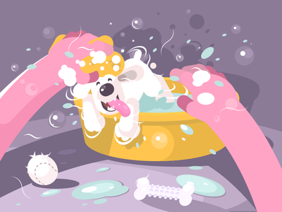 Bathing Doggie character basin wash water bathing puppy dog illustration vector flat kit8