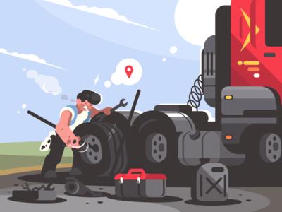 Repairing car character wheel lorry man car truck driver repair illustration vector flat kit8
