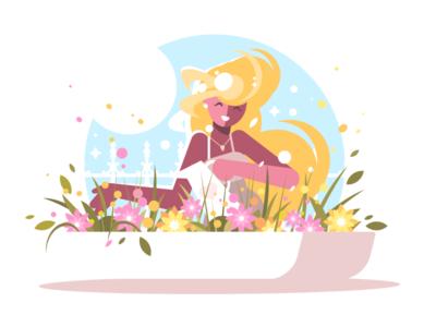 Blonde watering flowers character blonde cute gardening flower watering woman illustration vector flat kit8