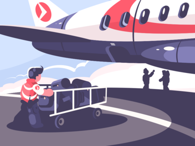 Loading of luggage in plane character loading cart airplane transport plane luggage airport illustration vector flat kit8