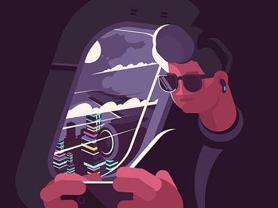 Man in plane near porthole character passenger porthole transportation aircraft flight plane illustration vector flat kit8