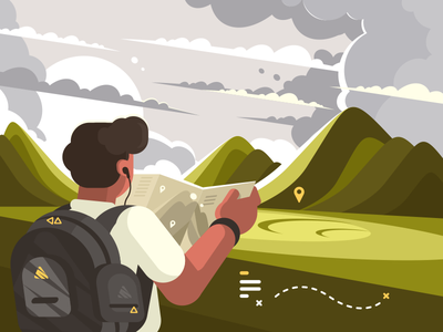 Traveler with map character tourism planning map traveler route man mountain illustration vector flat kit8