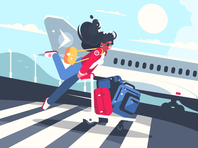 Girl carrying baggage on trolleys character airport suitcase woman girl luggage trolley baggage illustration vector flat kit8