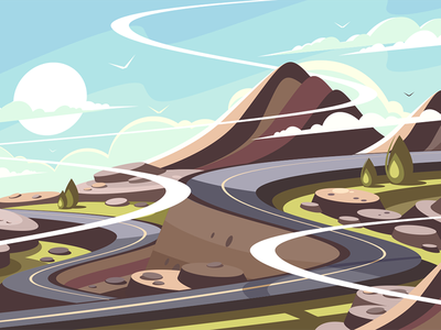Mountain road serpentine serpentine landscape journey traffic asphalt mountain road illustration vector flat kit8