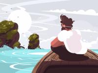 Guy sitting on boat