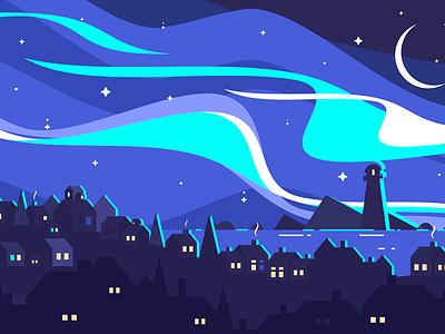 Landscape of Northern Lights beacon city port northern sky landscape lights north illustration vector flat kit8