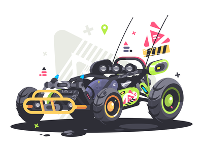 Racing car buggy transport powerful wheel extreme speed buggy race car illustration vector flat kit8