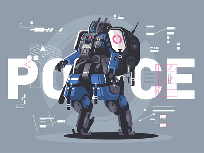 Police drone robot character intelligence artificial drone cyborg robot police illustration vector flat kit8