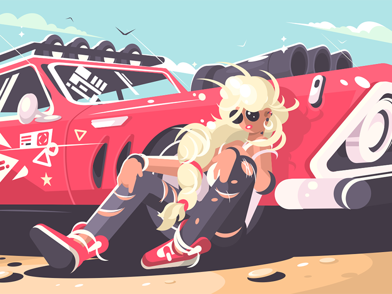 Blond girl sitting near red car character red car girl automobile cute woman illustration vector flat kit8
