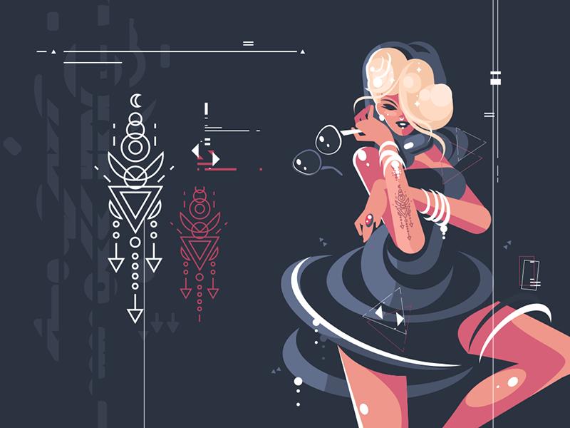Girl in dark dress with glasses character dress dark girl glasses glamour woman illustration vector flat kit8
